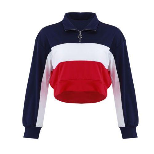 timeless design c8bbb ac207 Frauen Herbst Casual Langarm Hoodie Damen Reißverschluss Sweatshirt Jumper  Crop Top Pullover Tops