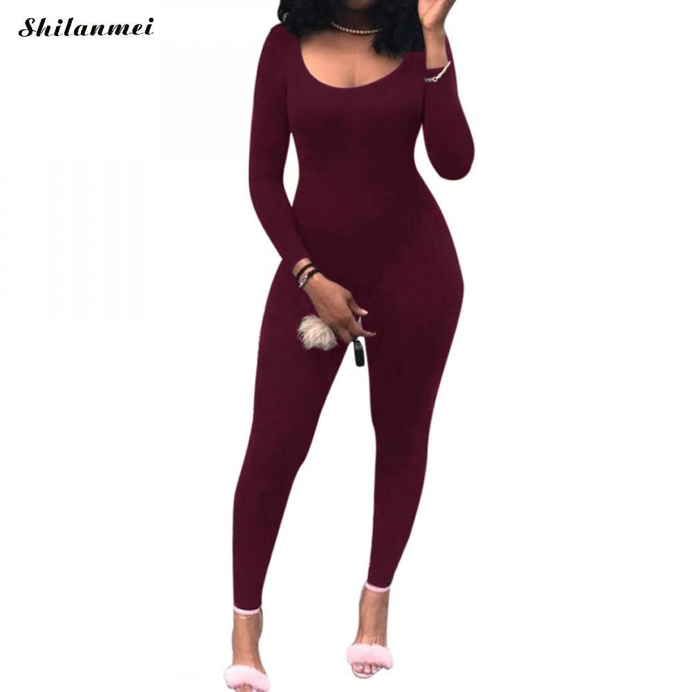 04fb9141cd2f 2019 Casual New 2018 Solid Color Romper Playsuit Back Hollow Long Sleeve  Bodysuit Bodycon Cotton Rompers Womens Jumpsuit Overalls From Beasy112