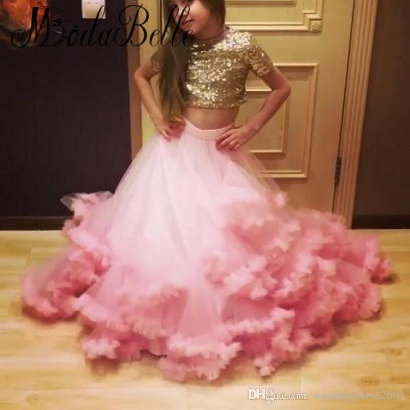 2018 New Pattern Sexy Girls Pageant Dresses Jewel Neck Short Sleeves Shiny Gold Sequin Top Pink Ruffles Skirt Two Pieces Kids Prom Dresses