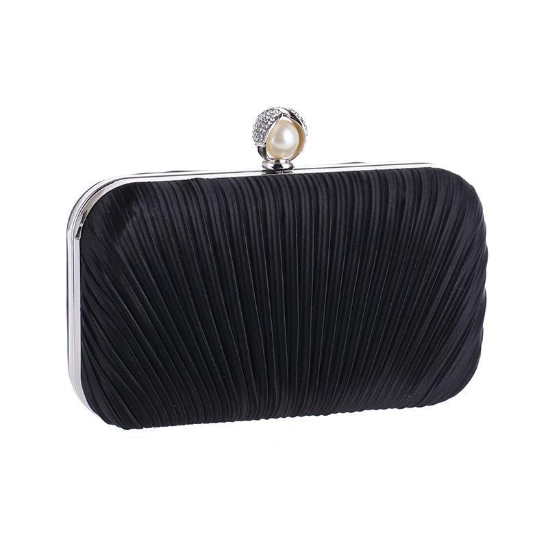 Elegante Hard Box Clutch Seide Satin Champagner Abendtaschen für passende Schuhe und Damen Hochzeit Prom Abend Party Handtasche