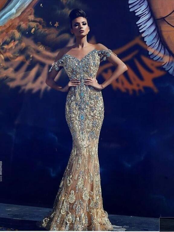 Evening dress Yousef aljasmi Kim kardashian Short sleeve Beaded Appliqued V-Neck A-Line Long dress Almoda gianninaazar ZuhLair murad