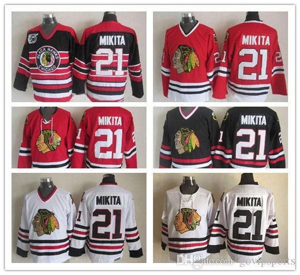 84f696610 ... spain 2018 mens chicago blackhawks stan mikita hockey jerseys vintage  ccm classic white red 21 stan