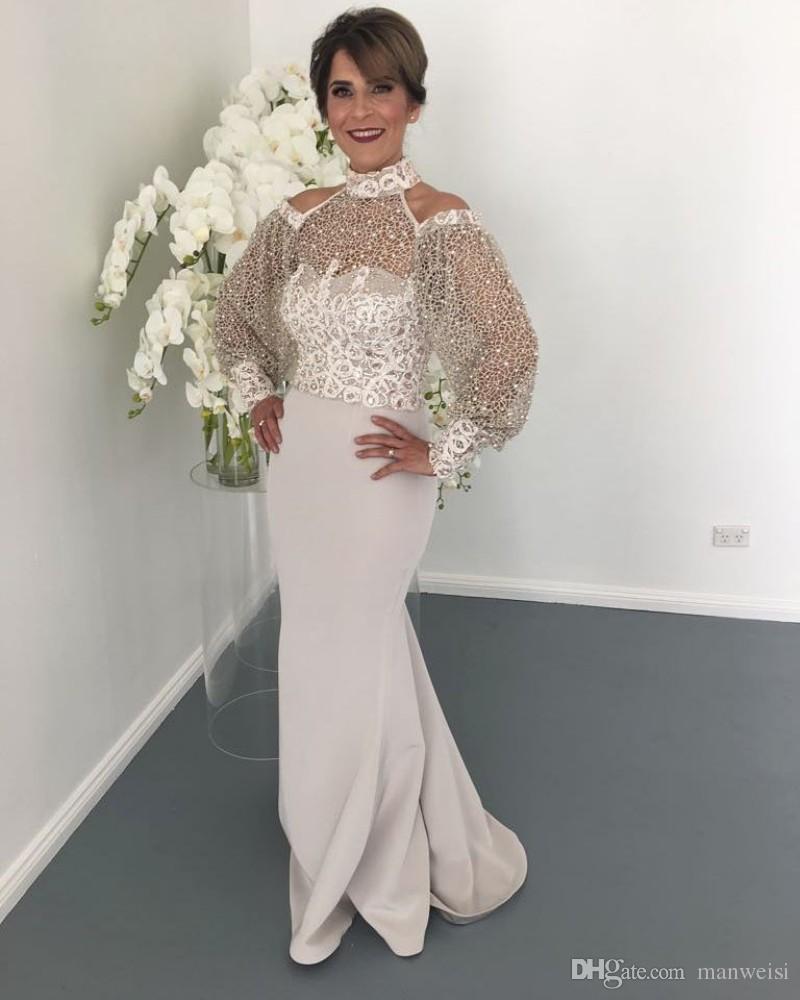 Eleganter High Neck Spitze Mutter der Brautkleider Langarm Perlen Meerjungfrau Hochzeit Gastkleid Plus Größe Formale Abendkleider