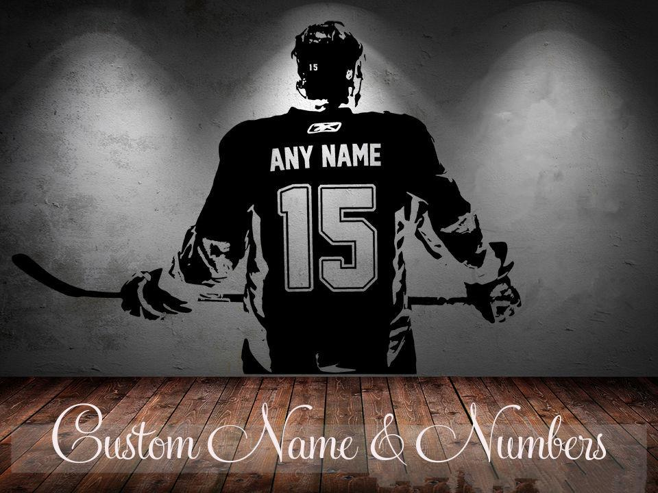 Hockey Player Wall Art Decal Sticker Choose Name Number Personalized Home  Decor Wall Stickers For Kids Room Vinilos Paredes D645 Bird Wall Stickers  Black ...