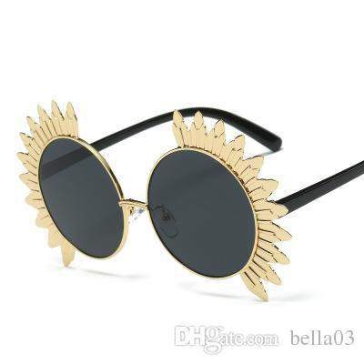 69c8d9f1a7e Oversized Sunflower Shape Women Round Sunglasses Fashion Steet Beat ...