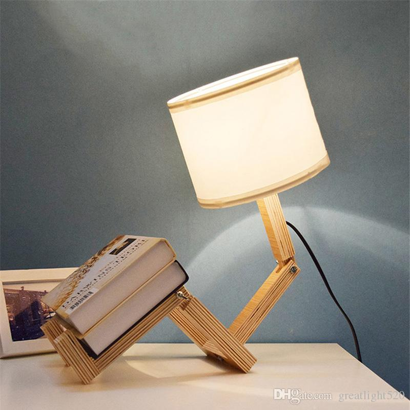 Loft Robot Shape Wooden Table Lamp ClothFolding Changeable Arm Table Light