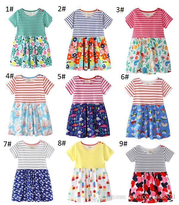 5801566a7 2019 Girls Dress Summer Cotton Casual Flower Dresses Short Sleeve ...