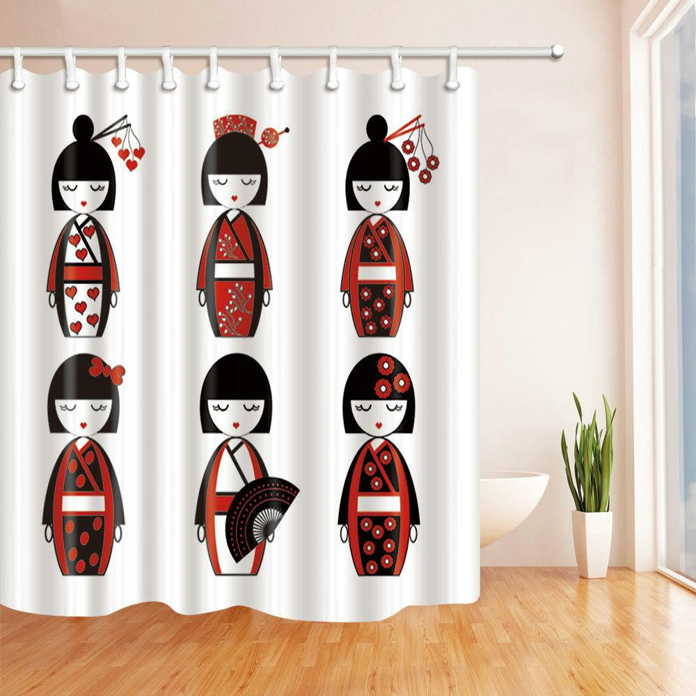 2018 Japanese Cartoon Girl Red Doll Shower Curtain Polyester Fabric ...