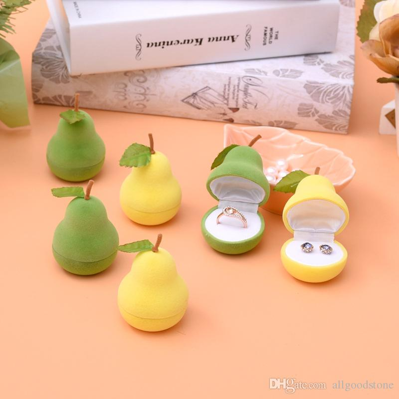 10pcs Wholesale Women Jewelry Boxes Green Yellow Pear Design Velvet Rings Box Lovely Stud Earrings Storage Case Small Organizer Container