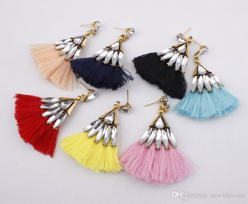 Fashion Jewelry Women Girl Fashion Rhinestone Long Tassel Dangle Earrings Fringe Drop Earrings*