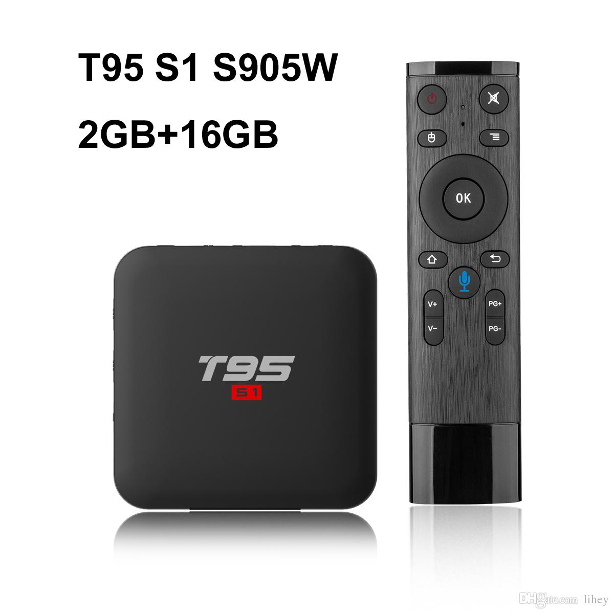 10PCS T95 S1 2GB 16GB Google voice control android 7 1 tv box S905W support  StbEmu Youtube Netflix