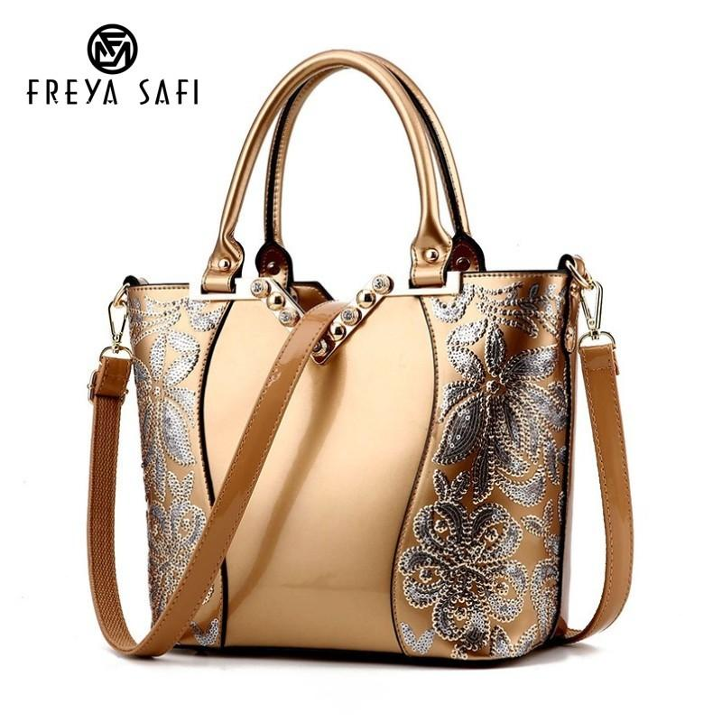 2019 Fashion Luxury Sequin Embroidery Women Bag Patent Leather ... 788238a030300