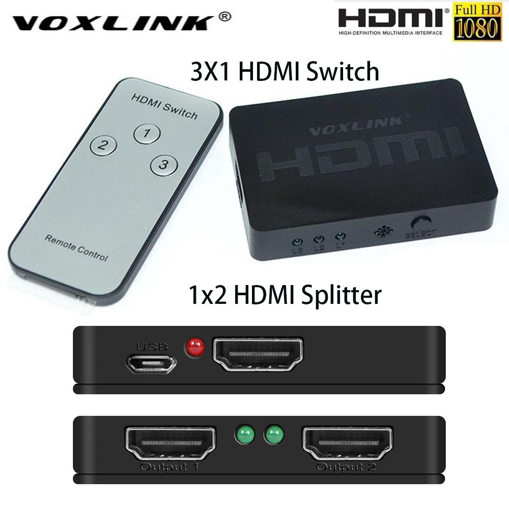 VOXLINK Mini 1080P 3D 1X2/3x1 HDMI Splitter 3-Port Switch 1/3 in 2/1 out  HDMI Distributor Converter Switcher For HDTV DVD PS3 PC