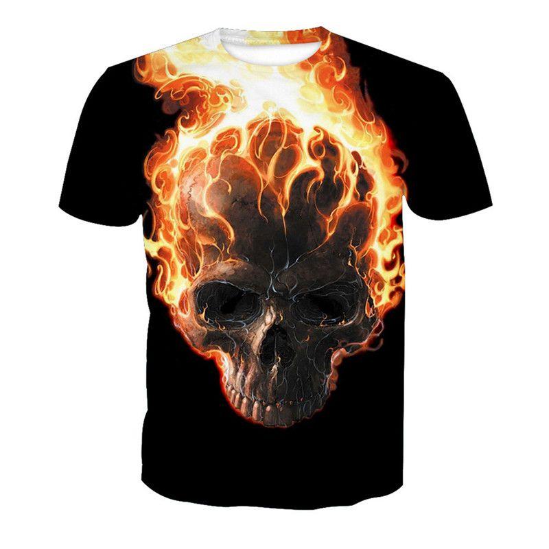 0c344ac08 Skull Fire Men T Shirt 6XL Fitness Tee Tops Casual Mens Black T-Shirt Fire  Skulls Gothic Streetwear Mens Anime Hip Hop T Shirts Skull Fire Men T Shirt  6XL ...