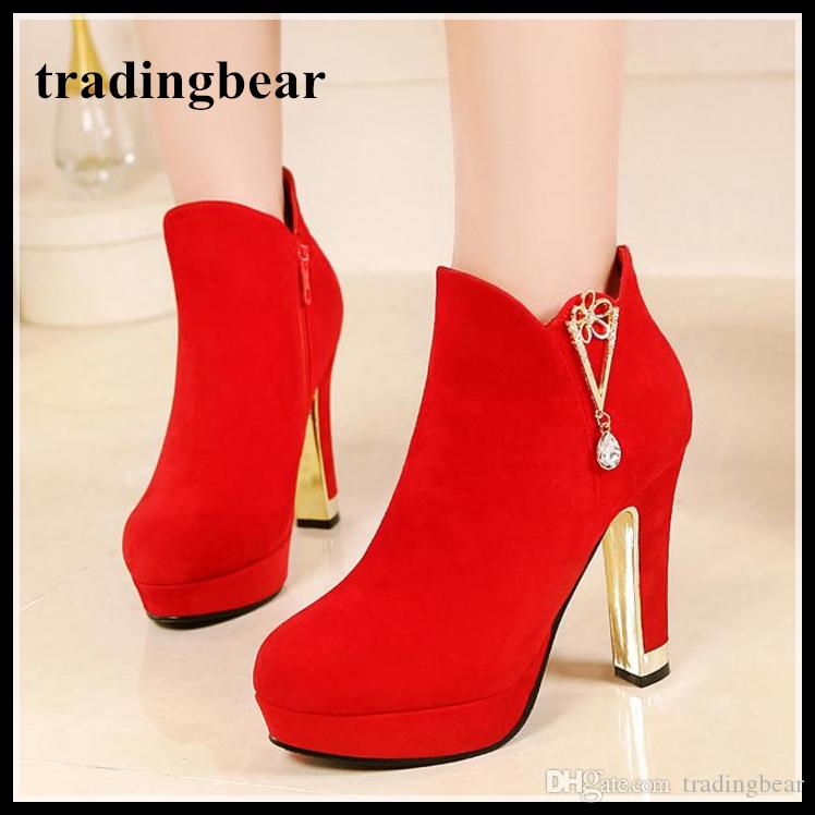 7952cc788c92 Red Wedding Shoes Ankle Boots Women Platform High Heels Synthetic Suede Big  Small Size 33 34 to 40 41 42