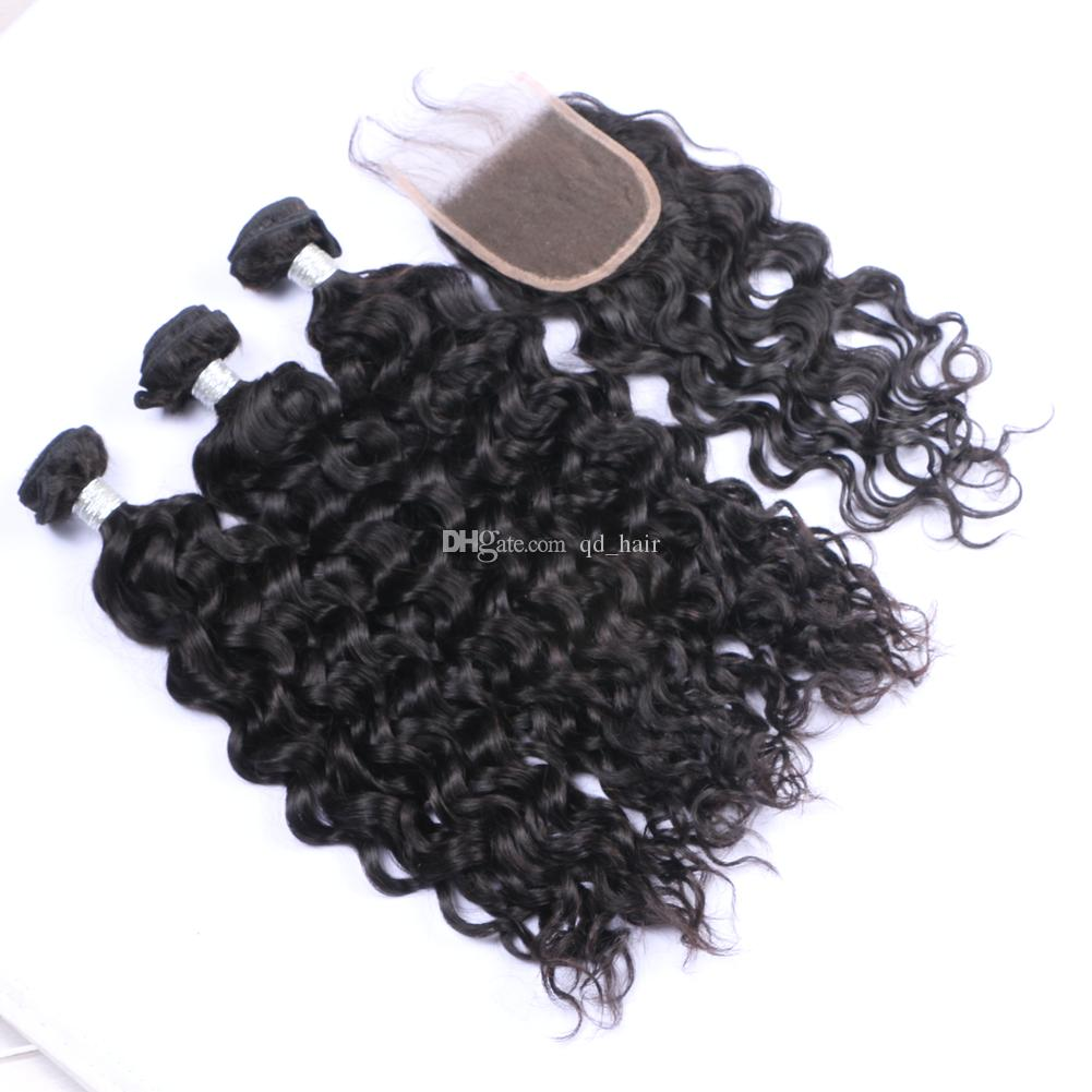 Water Wave Human Hair 3Bundles With Lace Closure Wet Wavy Hair Weft With Closure 4x4 With Baby Hair For Woman
