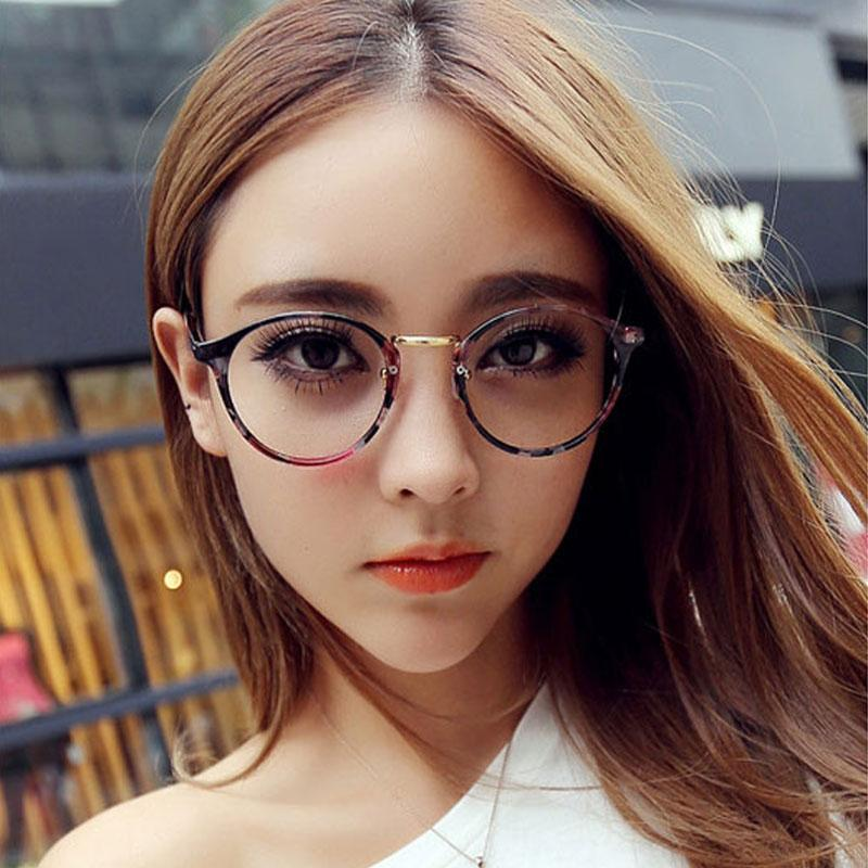 New Clear Lens Round Glasses Frame Cute Women Fashion Oversized ...