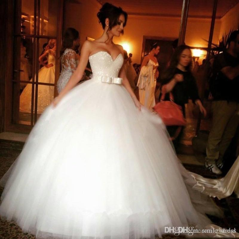 Bling Wedding Dresses Plus Size Bridal Gowns Sweetheart Ball Gown
