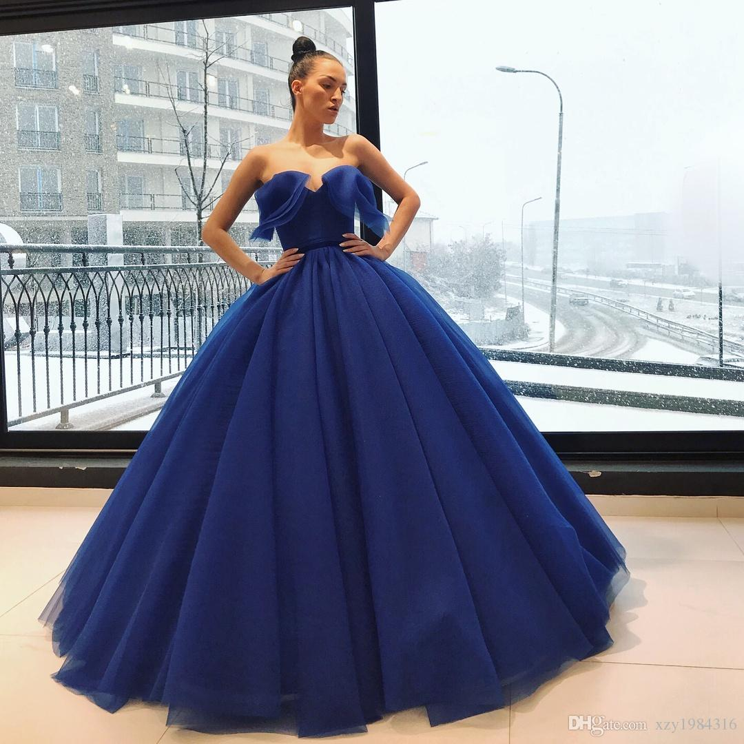 Most Beautiful Prom Dresses Ball Gown: Deep Ocean Blue Quinceanera Dresses Charming V Neck