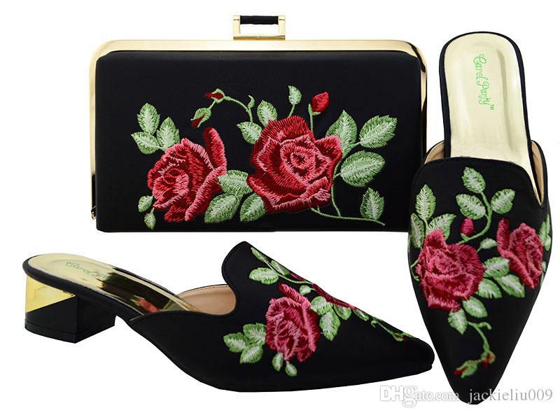 Heiße rote Farbe des Absatzes niedrigen Absatz 3.8CM Damenschuhe woth Blumenstickerei afrikanische Schuhe entsprechen der Handtasche, die für Kleid MM6003 eingestellt wird