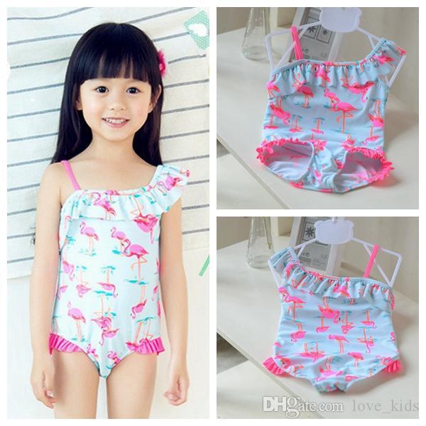 Kinder Einteiler Schwimmen Kinder Badeanzug Mädchen Koreanische Nette Swan Badeanzug Zwei Stücke Bikini Set Baby Badehosen Schwimmen Anzug Kleinen Mädchen Badeanzug