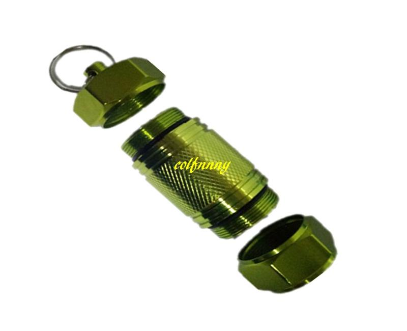 Fast shipping 30*70mm Large size Keychain WaterProof Pill Box Aluminum Case Bottle Holder Container