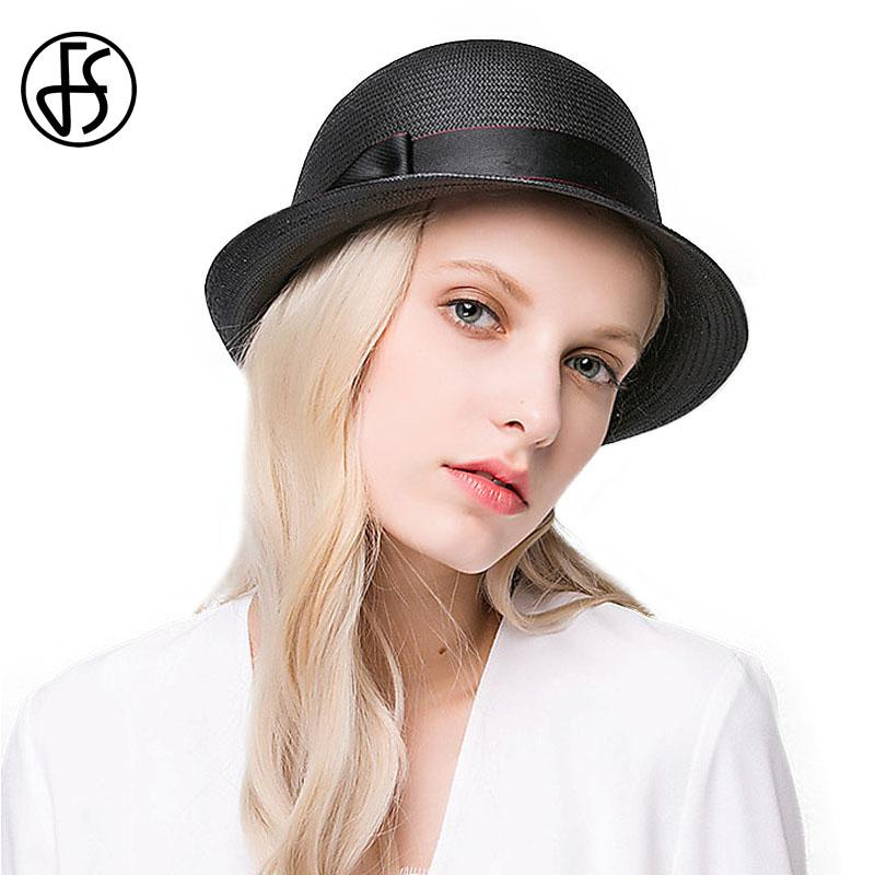 adc8faa842381 New 2017 Straw Hats For Women Summer Bowler Cap Short Curling Brim Boater  Hats For Lady Elegant Casual Black Beach Side Cappello Hats For Men Sun Hats  From ...