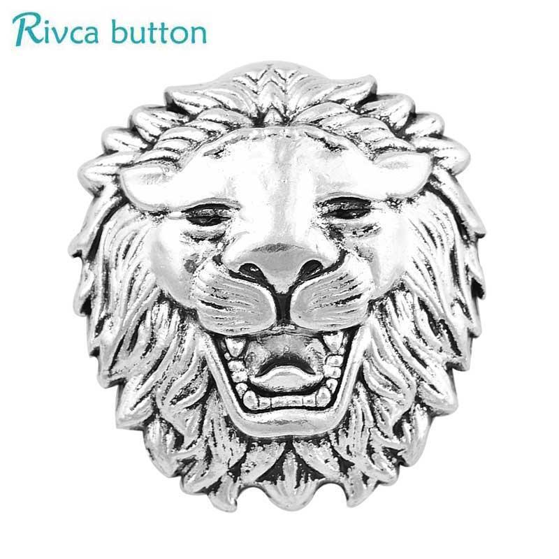 Rivca Snap Button Jewelry Newest DIY 18mm lion tiger leopard wolf Snap Button Fit Charm leather alloy fashion Bracelet jewelery