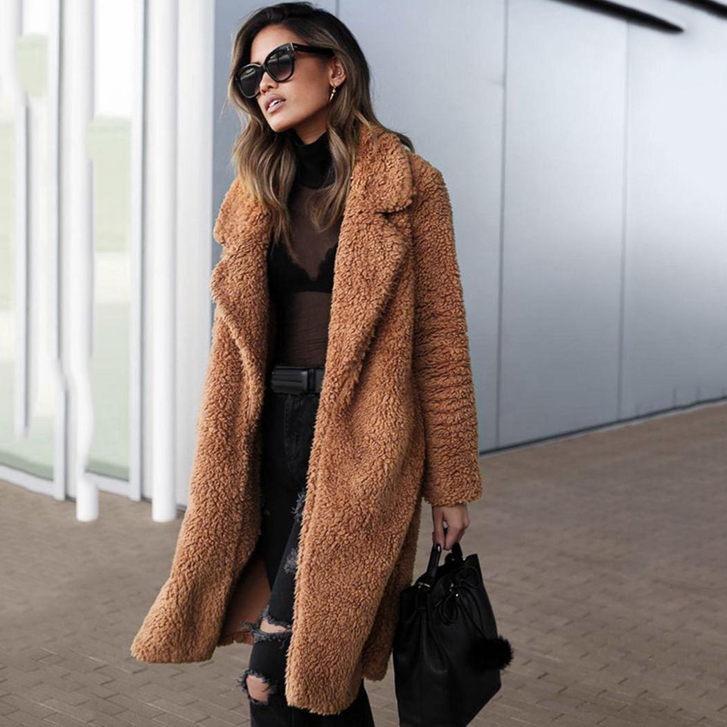 ed0aba7868 Plus Size Women Faux Fur Coat Fluffy 2018 Winter Faux Teddy Coats ...