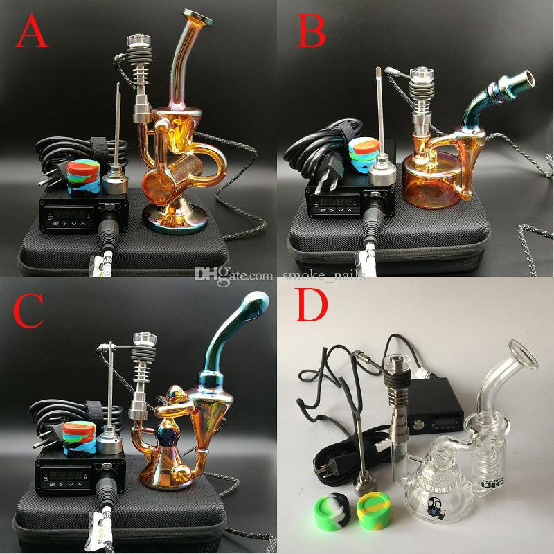 E Digital Nail Kit Electronic Dab Rig Nail Wax Dabber Tool Vaporizer PID Temperature Control Box with new style oil rigs glass bong
