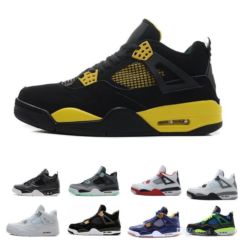 aa6f0460819e5 Acheter NIKE Air Jordan 4 Chaussures De Basketball Hommes Pure Money  Royalty White Cement Raptors Chat Noir Bred Fire Rouge Baskets Sport  Baskets Taille 8 ...
