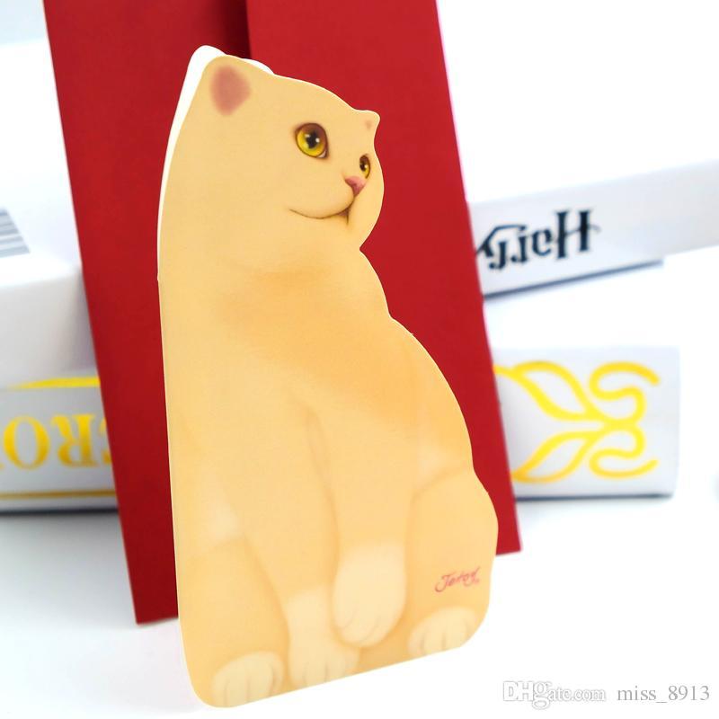 2020 لطيف القط طي بطاقات المعايدة 3d بطاقات الورق بطاقات عيد الميلاد مغلف الكتابة ورقة القرطاسية الهدايا