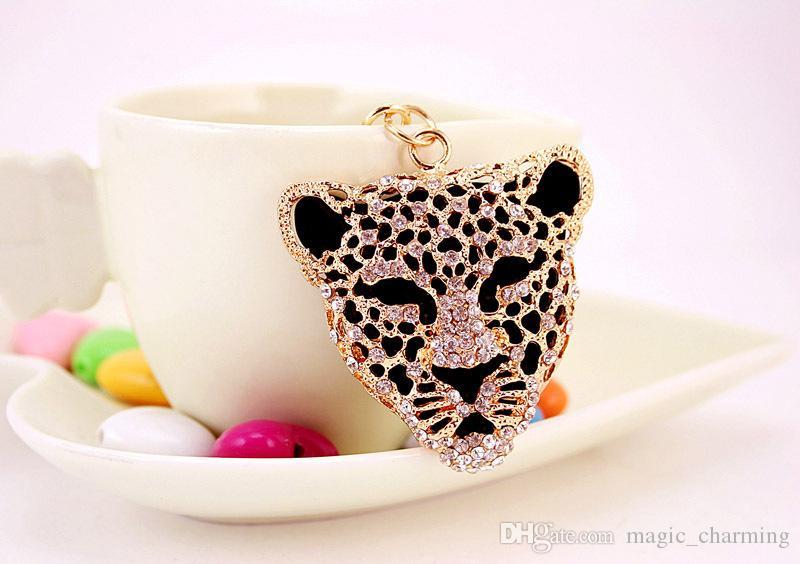 Бесплатная доставка новый дизайн Кристалл леопарда брелок брелок сумка / кошелек Шарм подарок реального позолоченный, сплав брелок для ключей