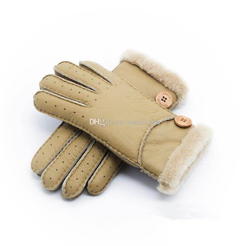 Оптовая продажа-новые теплые зимние женские кожаные перчатки из натуральной шерсти женщины 100% бесплатная доставка