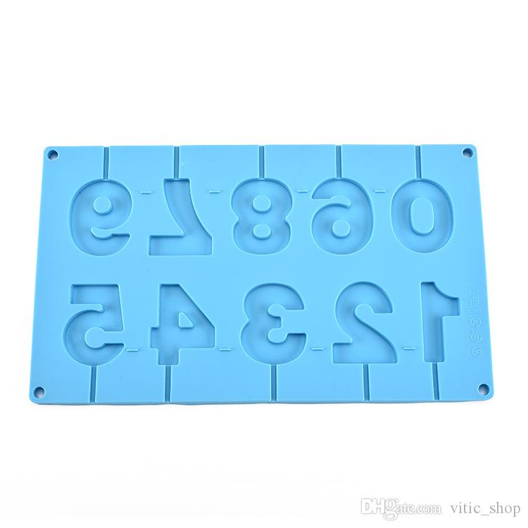 Lollipop Mold 0-9 Numbers Shape Silicone Molds 3D Handmade silicon Candy fondant mold silicone bakeware Cake Molds GJM67