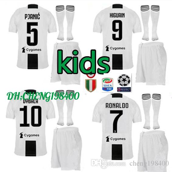 51dbedcdd 18 19 Juventus RONALDO DYBALA HIGUAIN Kids Kit Soccer Jersey 2018-19 Juve  MARCHISIO MANDZUKIC CHIELLINI BUFFON Child Football Shirt Uniform Online  with .
