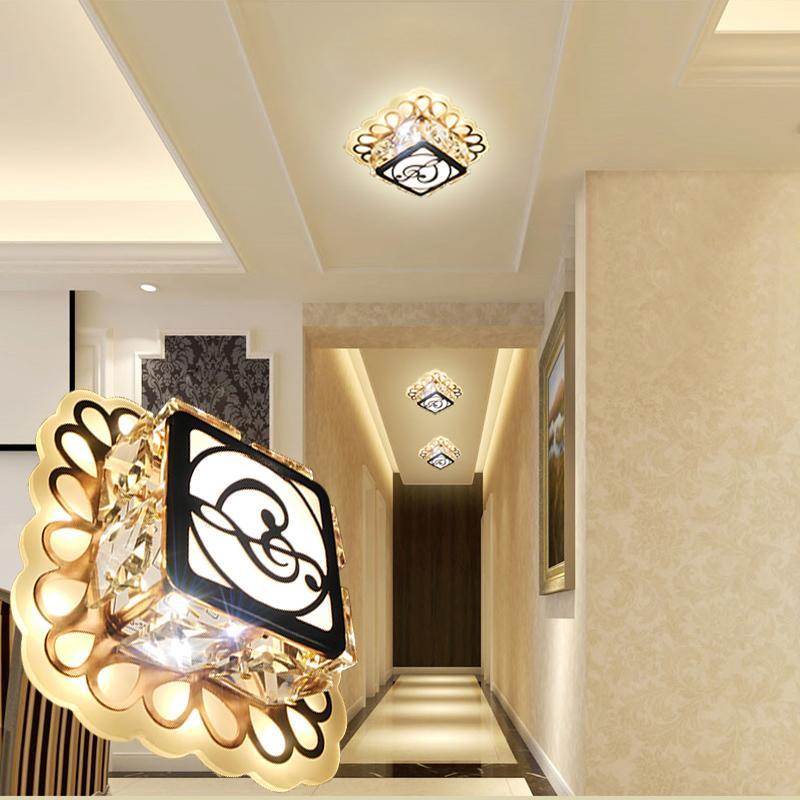 Deckenleuchten Laimaik 3 Watt 5 Watt Kristall Led-deckenleuchte Ac90-260v Moderne Led Kristall Lampe Gang Licht Led Decken Beleuchtung Für Wohnzimmer