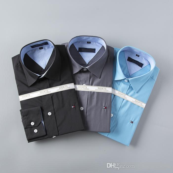 83edcb538966b Satın Al Marka 2018 Moda Erkek Gömlek Uzun Kollu Üstleri Çift Yaka Iş Gömlek  Erkek Gömlekler Slim Erkekler 3XL, $29.45 | DHgate.Com'da