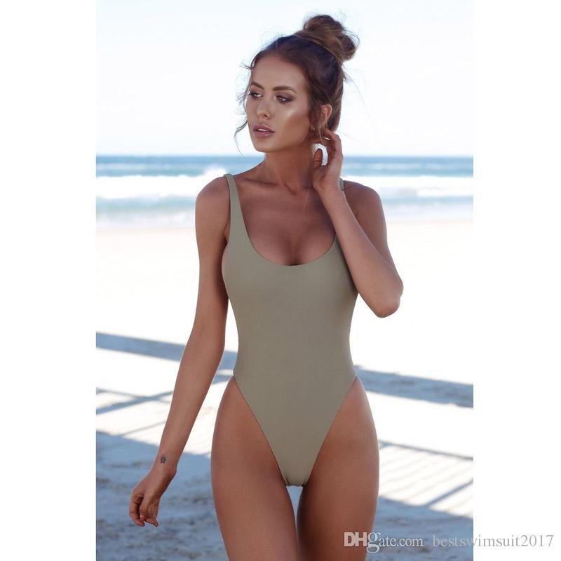 cf525e66a9d 2019 2018 Sexy Solid Bikinis Swimwear Women One Piece Swimsuit Brazilian  Thong Bathing Suit Lady Beach Swim Wear Maillot De Bain Femme From  Bestswimsuit2017 ...