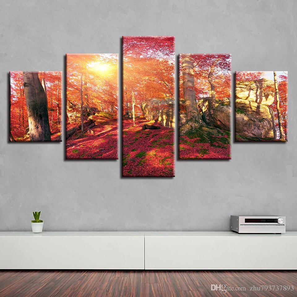 Großhandel Bilder Wohnzimmer Wohnkultur 5 Stück Red Forest Sunshine ...