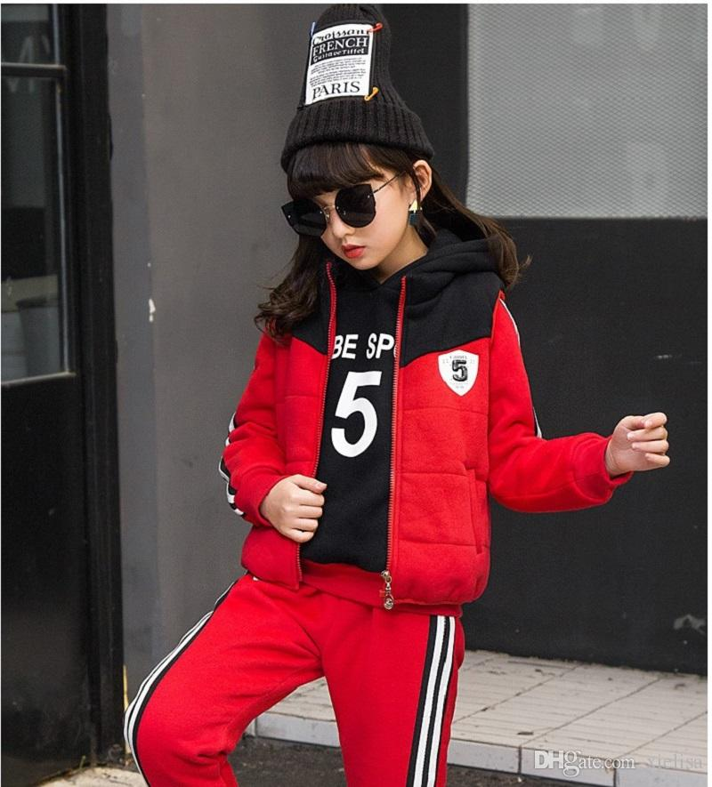Children Tracksuits 6-12y Winter Cotton Pink red Long Sleeve cute Sport Suits School Girl Outfit Costume For Kids Teens Clothes