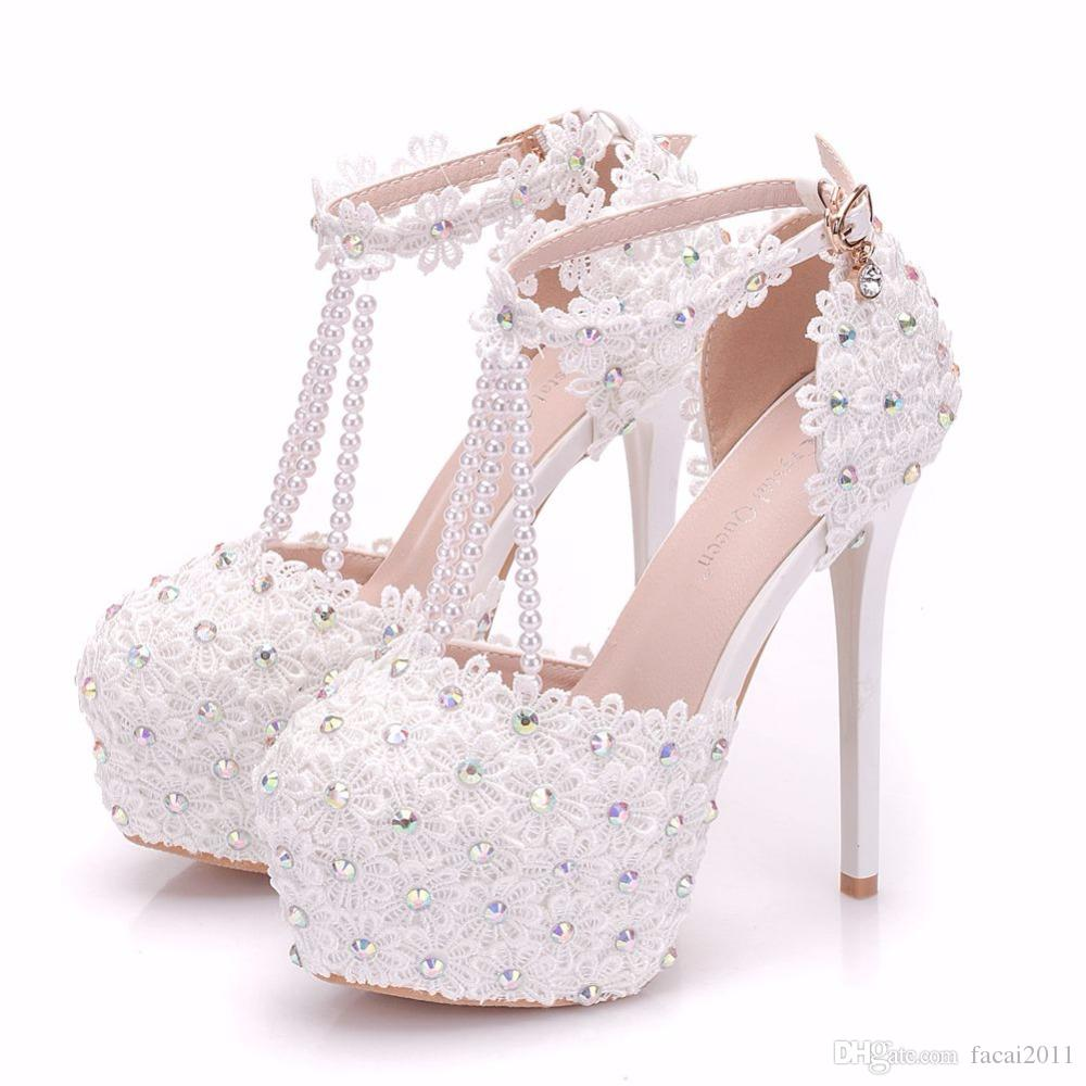 72a8e3158f6 Beautiful White Flowers Pearl Tassel Bridal Super High Heels Fine Heel  Slender Bridal Lace Flowers Wedding Shoes Cute Shoes Green Shoes From  Facai2011