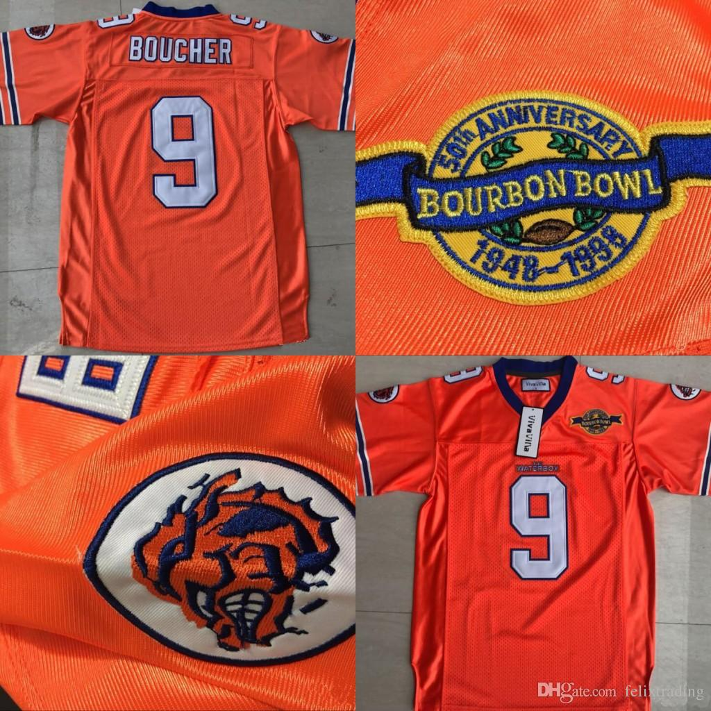 Bobby Boucher  9 The Waterboy Adam Sandler Mud Dogs Movie Football Jersey  With Bourbon Bowl Patch Orange Stiched Name   Number   Logos UK 2019 From  ... d1021f59b928
