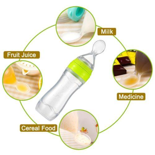 120ML Infant Baby Silicone Feeding Bottle With Spoon Feeder Food Rice Cereal Bottle