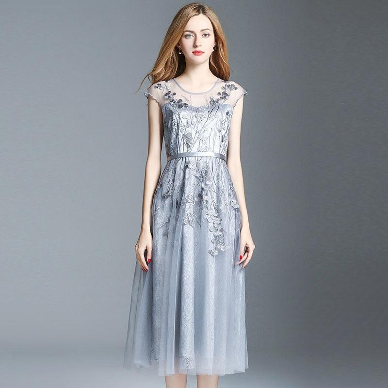 432f3c724d935 Satın Al Gri Parti Olay Elbise Çiçek Nakış Dantel Alt Buzağı Uzunluğu Elbise  2017, $105.53   DHgate.Com'da
