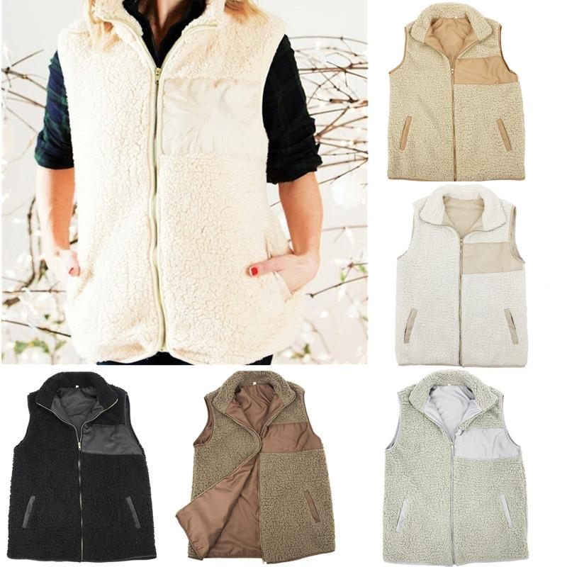 388a46ffd90 Women S Sherpa Vest Fleece Winter Coat Plus Size Sleeveless Zip Up Jacket  With Pocket Outwear Tank Tops 2018 Women Clothes Chritmas Gifts Baby Girl  ...
