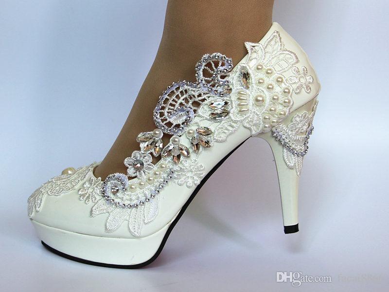 Weiße Spitze Diamant Braut Brautjungfer Schuhe High Heels wasserdicht Plattform Bankett Hochzeit Foto große Größe Hochzeit Schuhe Frauen einzigen Schuh