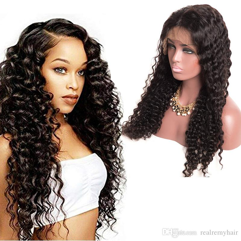 Human Hair Wigs Lace Front Brazilian Peruvian Malaysian Deep Curly