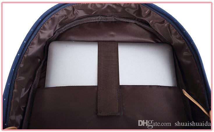 Cartable Canva + Oxford tissu tissu Sac à dos La mode de loisirs Sac à dos rayé Sacs de voyage en plein air à grande capacité Knapsack A06