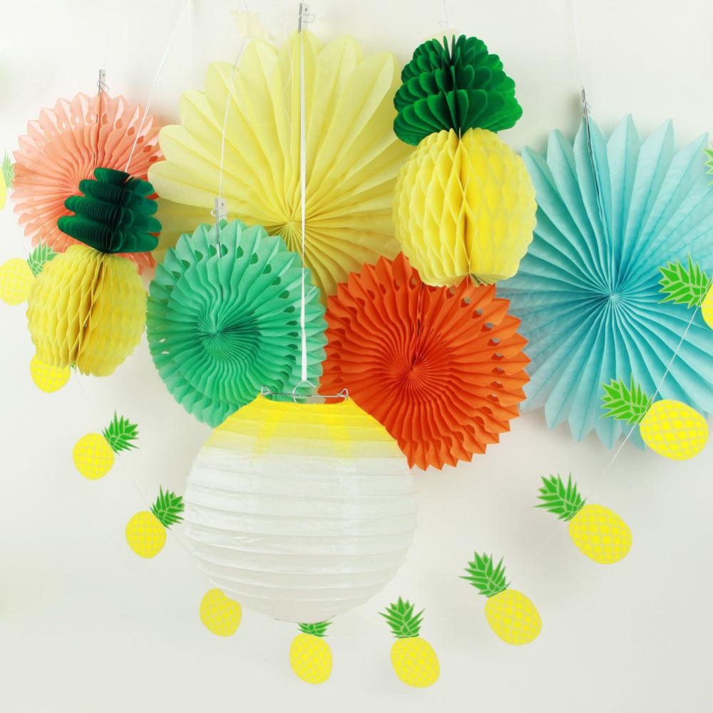 Pack Of 9 Summer Party Paper Flower Decoration Set Lantern Paper